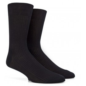 Black ribbed socks in pure mercerised cotton lisle