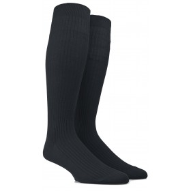 Ribbed knee-high socks in mercerised cotton lisle - Black